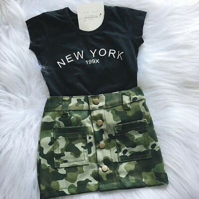 UK 2pcs Toddler Kid Baby Girl T-shirt Tops Camouflage Skirt Dress Clothes Outfit