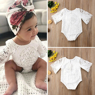 UK Floral Lace Newborn Infant Baby Girl Bodysuit Romper Jumpsuit Clothes Outfits