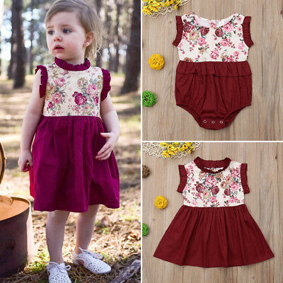 UK  STOCK Little/Big Sister Baby Girl Kids Floral Romper Dress Matching Outfits