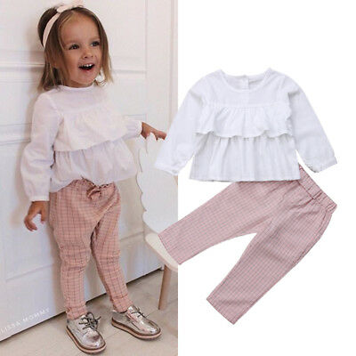 UK Kids Baby Girl Autumn Outfits Clothes Ruffle Tops Blouse Plaid Pants 2PCS Set