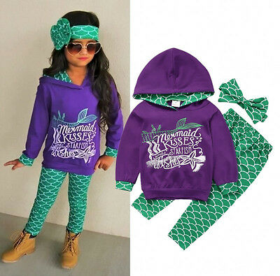 UK Mermaid Toddler Baby Kids Girl Hooded Tops Pants Leggings Outfits Set Clothes