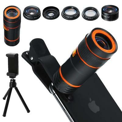 6 in 1 Cell Phone Camera Kit 12x Telephoto Zoom Lens Wide Angle Macro Holder