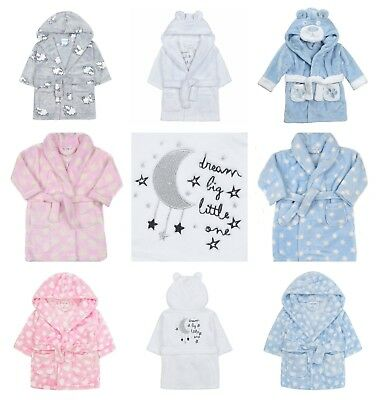 Beautiful Baby Dressing Gowns Soft Fluffy Flannel Fleece 6-24m Blue Pink Unisex