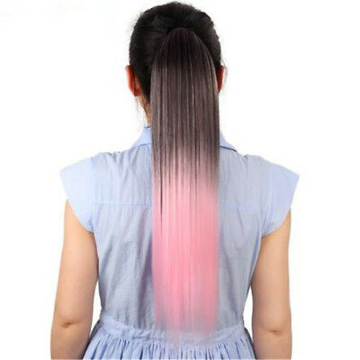 Women's Hair Ponytails Clip in Hair Extension Ombre Color Long Straight Z