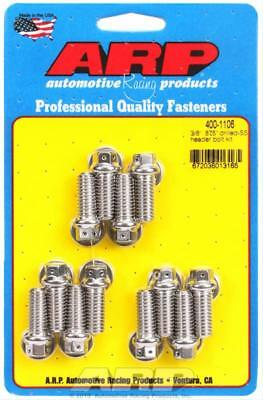 "ARP Header Bolts Hex Head Stainless Drilled 3/8""-16 0.875"" U.H.L. Set of 12"