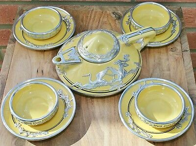 Vintage Chinese Yellow Ceramic Teaset with White Metal (Silver?) Cranes Overlay