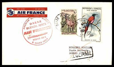 1964 Dakar First Flight Air France Boeing 328B Mar 6Th Red Cachet On Cover To Bu