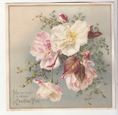 May You Enjoy A Merry Christmas Time Pink White Flowers Vict Card c1880s