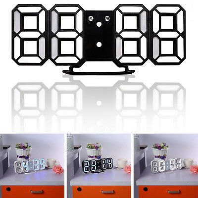 3D Modern Design Digital Led Wall Clock Alarm Table White 12/24 Hour Display UK