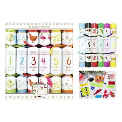 12 Days Of Christmas Crackers Family Xmas Party Dining Table Festive White Kids