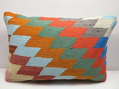 "Turkish Rug Kilim Lumbar Pillow Cover Long Pillow 20""x14"" Cushion Throw Pillows"
