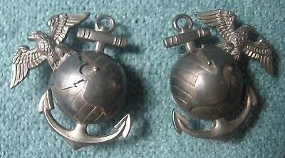 25 United States Marine Corps Sterling Silver Collar Badges Hilborn & Hamburger