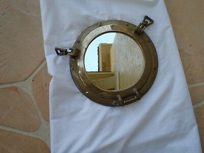 "Vintage 11.75"" Nautical Solid Brass Porthole Mirror"