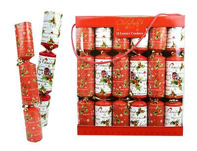 12 Luxury Christmas Crackers Family Xmas Party Dining Table Festive Red White