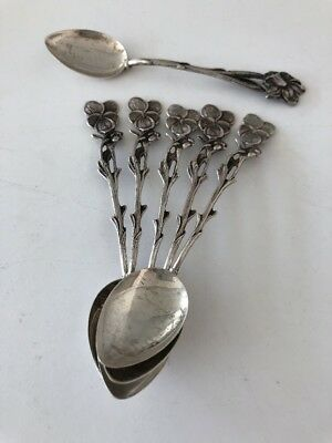 "Vintage  835 Silver Flowers 4"" Demitasse Spoon (6)  5 Pansy +1 Rose ? Six Spoons"