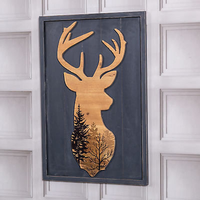Large Stag Grey Picture Wall Mounted Wall Art Plaque Vintage Decor Deer Living