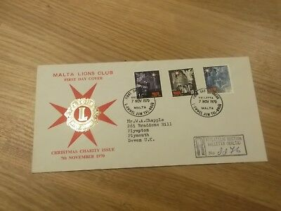 1970 Malta Lions Club Christmas Charity Issue First Day Cover Postmark Valletta