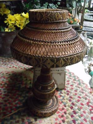 GORGEOUS Old Primitive Vintage Natural Hand Woven Table Lamp & Shade Works