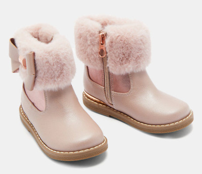 4f2c3929e TED BAKER CORYIA Girls Infants Pink Rose Gold Faux Fur Cuff Ankle ...