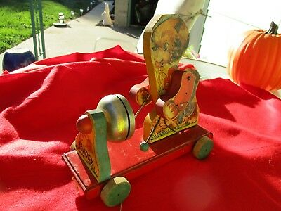Old Antique Pull Toy Chiming Wooden Bear The Gong Bell MFG. Co. Metal Bell Tin