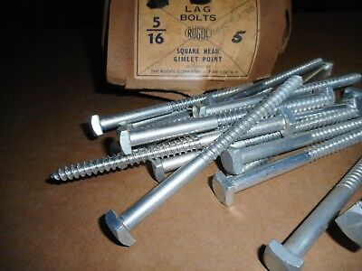 "5/16"" x 5"" Square Head Lag Bolts Gimlet Point Zinc Plated Qty. 25"