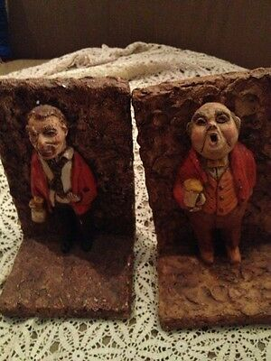 Antique Vintage Chalkware DRINKING OLD MEN AWESOME large Bookends-Pair-