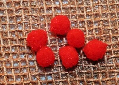 25 RED FLUFFY FELT POMPOMS - 10mm # CRAFT/KNITS/ DOLLS HOUSE
