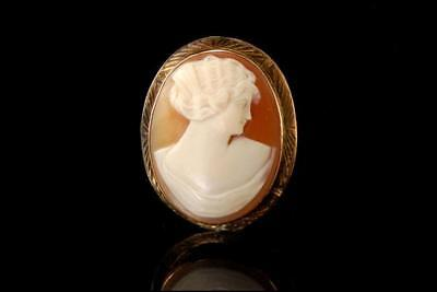 Antique Victorian Shell Cameo Lady Portrait 10K Gold Pin Brooch A31674
