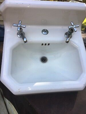 Vintage Cast Iron White Porcelain Bathroom Sink With Faucet's