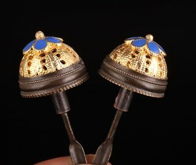 2 Rare Old Gilt Bronze Snuff Bottle Lid Collection Decoration