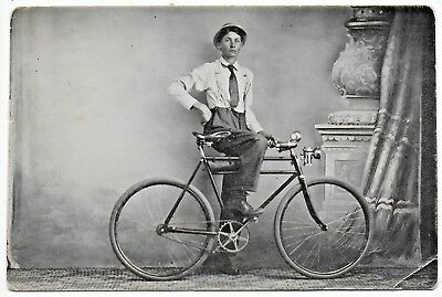 (#3006) Old Photo Postcard  Young Man on His Cool Vintage Bicycle Bike