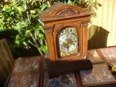 Vintage  Antique Westminster Strike Mantle Clock With Key & Pendulum