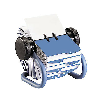 Rolodex Open Rotary Business Card File Holder with 200 Card Sleeve, Blue