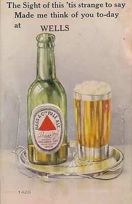 Bass Beer Pull Out Novelty From Wells Somerset  Made Me Think Of You Today 1927