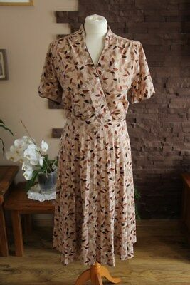 vintage 80s beige brown leaves pleated dress size 16