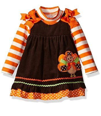 Rare Editions Baby Girls Fall Thanksgiving Turkey Corduroy Jumper Dress 18M New