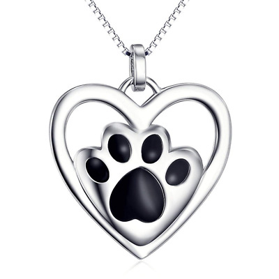 S925 Sterling Silver Puppy Dog Cat Pet Paw Print Love Heart Pendant Necklace 18""