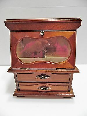 Wooden Jewelry Box Chest Etched Glass Drop Front Door Drawers Rings Earrings