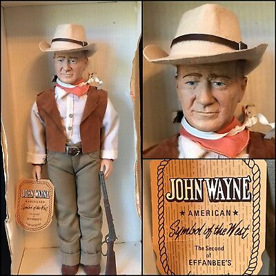 """17"""" Effanbee """"John Wayne"""" W/winchester & Stetson, Letter Of Authenticity, '81"""