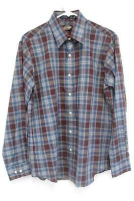 Vintage Towncraft Blue Maroon Plaid Long Sleeve Button Up Shirt Men's M
