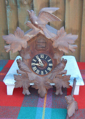 Antique~Vintage Large Wooden Black Forest Bird & Vine Cuckoo Clock~Glass Eyes