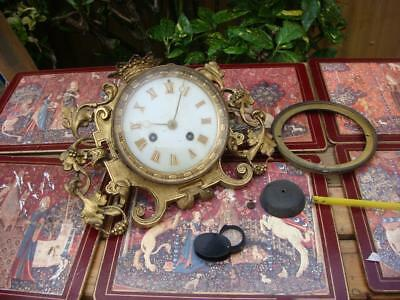 Vintage  French  Clock movement  For Restoration   Spare Or repair