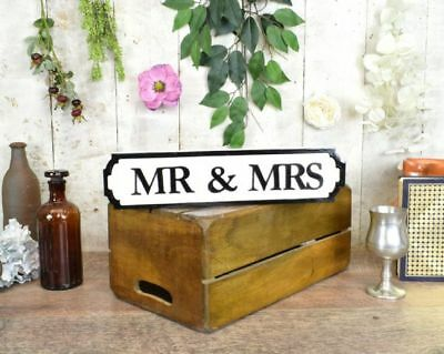 Miniature Mr & Mrs Vintage Style Wooden Road Sign Wedding Decoration