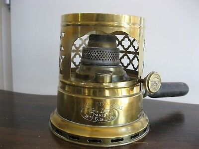 Very Rare Antique French Oil Lamp / Food Heater GM  Paris Bte S.D.G.D
