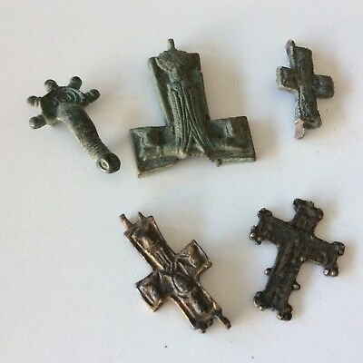 (5) Medieval Bronze Cross  Artifact Collection Lot Poor Condition