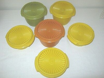 TUPPERWARE Set of SIX ( 6 ) Servalier Bowls # 886 & 1323 Containers & Lids