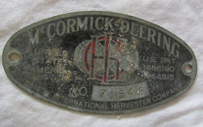 OLD McCORMICK DEERING INTERNATIONAL HARVESTER SERIAL NUMBER TAG PLATE Metal VTG