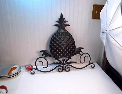 Vintage Hollywood Regency Wrought Iron Pineapple Shaped Wall Hanging Sculpture