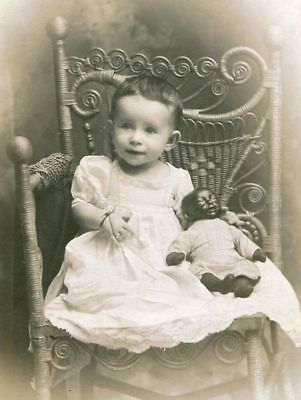 RPPC LITTLE GIRL w RARE BLACK BABY DOLL ID'd ESTHER OSHINER REAL PHOTO POSTCARD