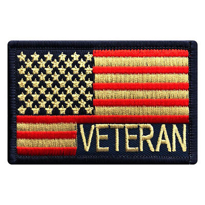 Veteran USA Flag Subdued Military Patch [Iron ON-3.0 X 2.0 MTV4]